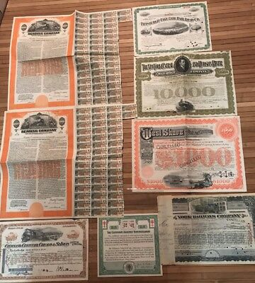 Vintage Lot Of 7 Railroad Bonds West Shore Reading York +