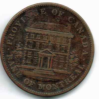 Province Of Canada One Penny 1842..bank Of Montreal