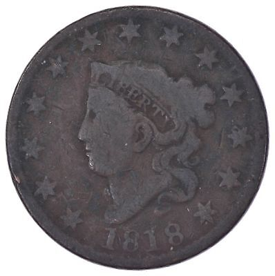 EARLY - 1818 Liberty Head United States LARGE CENT - TOUGH Coin *995