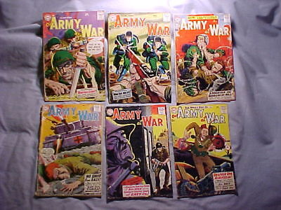 """6 Silver Age """"Our Army at War"""" Comics # 54, 56, 84, 89, 91, 93 Fair to poor"""