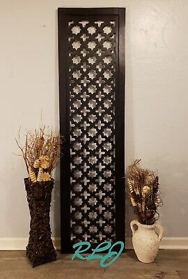 Large Rustic Espresso Lattice Pattern Carved Wood Wall Panel Plaque Home Decor