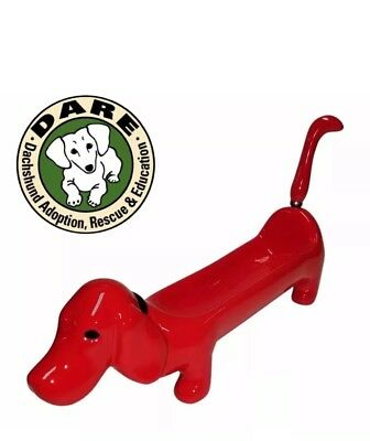 """*RED* Dog Cracker Dip Tray with Tail Spreader 11.5"""" L x 3.5"""" H"""