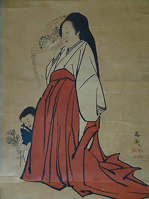 "Vintage Japanese hanging scroll Handpainted on paper"" A woman  "" s0102"