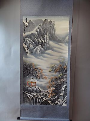 "Chinese hanging scroll handpainted on Paper ""Winter Sansui-zu"" k7070"