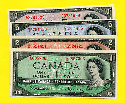 Canada $1 , $2, $5 And $10  1954 Banknotes Lot