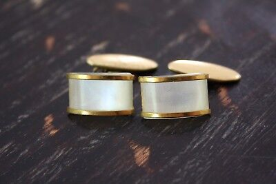 Vtg Gold Tone L'sB Faux Mother Of Pearl Lucite Center Stone Button Cufflinks GUC
