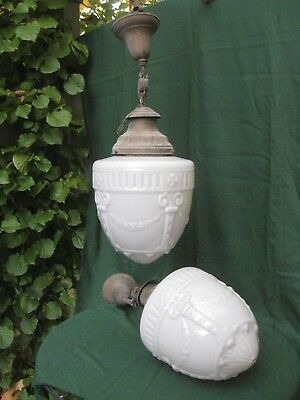 Antique Pair Large Vintage Art Deco Milk Glass Pendant Light Fixture Shades 1910