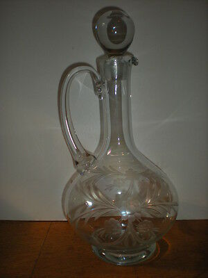 1800's Antique Wine Decanter with Heavy Ball Stopper Etched Glass Flowers