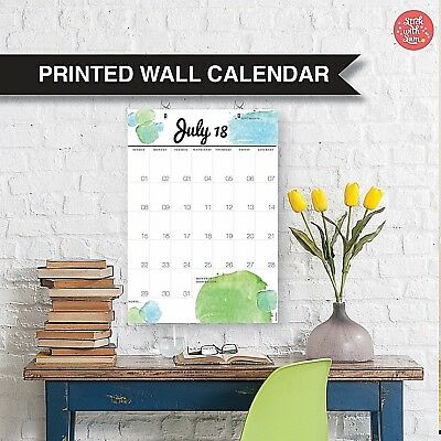 2018 Family Wall Calendar. Yearly Planner Coloured. Calendar for Home or Office.