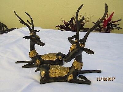 Pr Vintage Gilt Bronze Thai Sika Deer Statues * Thailand * Early to Mid-Century