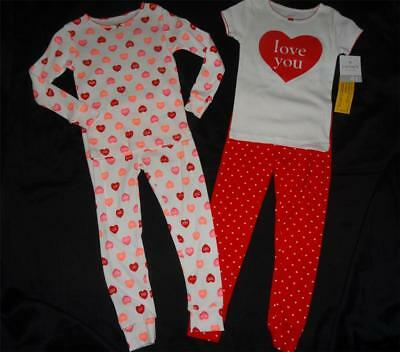 Girls Size 4T 4 Toddler Pajamas Red White 2 Pairs Valentine's Day Heart Orig $34