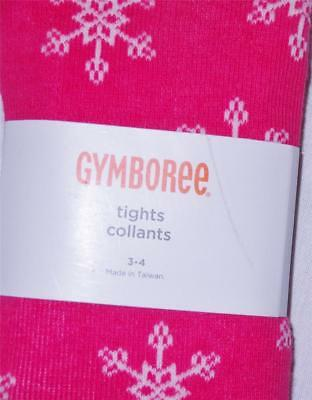 Gymboree Christmas Tights 3T 4T 3-4 Toddler Holiday Winter Snowflake Hot Pink