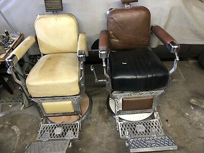 Two Antique Koken Barber Chair's for barber shop 1950's
