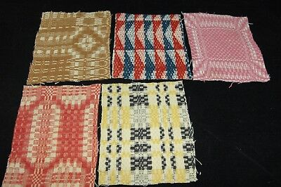 Antique Coverlet Pieces for Pillows Stockings Appliques Hearts Lot of 5  - J