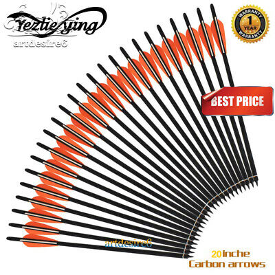 """6/12/24PK Hunting Archery 20'' Carbon Shaft Arrow Bolts 4"""" vanes For Crossbow"""