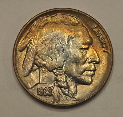 1938-D Buffalo ~ Unc / BU with Crescent Toned Obverse!