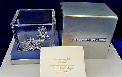 Vintage 1984 Avon Crystal Christmas Holiday snowflake candle holder candleholder