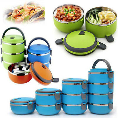 1/2/3/4Layer Bento Box Stainless Steel Thermal Insulated Lunch Food Container US
