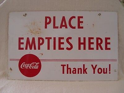 """12"""" Painted Metal Coca-Cola Place Empties Here Coke Soda Bottle Rack Sign"""