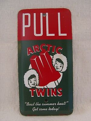Arctic Twins Popsicles Ice Cream Old Scioto Painted Advertising Door Pull Sign