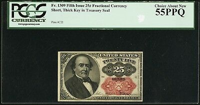 Fr. 1309 25¢ Fifth Issue, Fractional Currency, PCGS Choice About New 55PPQ