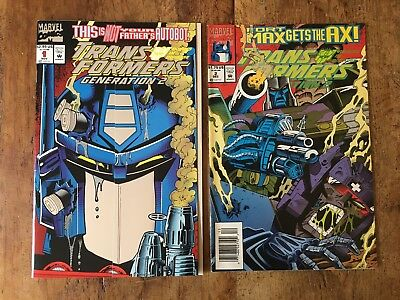 Transformers Generation 2 (1993) #1 VF+ and #2 Optimus Prime Fold Cover Marvel