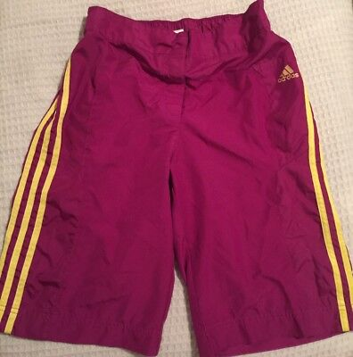Girls Adidas Shorts Knee Length  Sz XL Purple Yellow Velcro And Snap Front