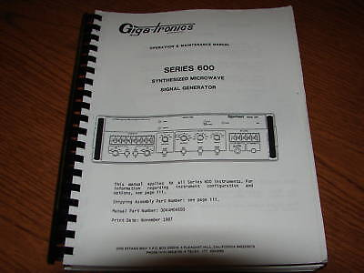 Gigatronics 600 Operation and Maintance Manual