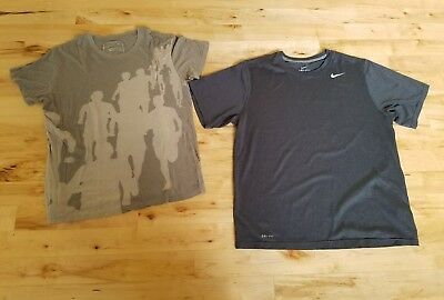 Nike Dri-Fit Men's L Athletic T-Shirt Work Out Lot of 2 Gray & Green