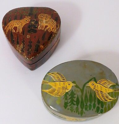 Vintage Hand Painted Boxes From Kashmir, India Set of 2 Paper Mache Lions Birds