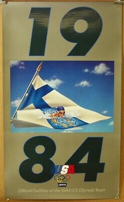 1984 Olympics Levi's 501 Advertising Poster Swimming Finland 22 x 37