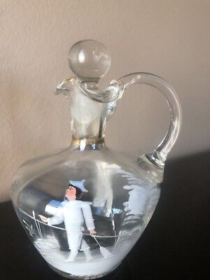 Vintage Mary Gregory Clear Glass Cruet Stopper