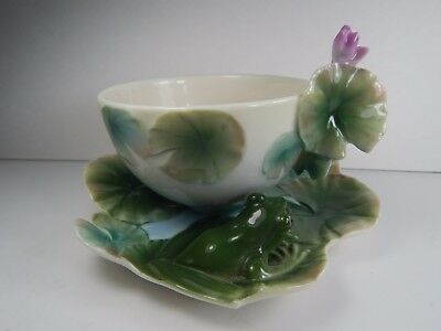 Franz Tea Cup and Saucer. Lily Pad Frog Design.