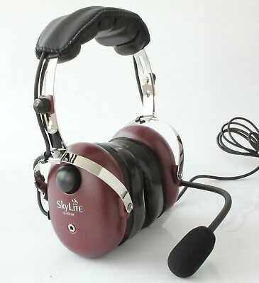 SkyLite GA Aviation Pilot Headset with MP3 input - 2018 New Wine Red Color + BAG