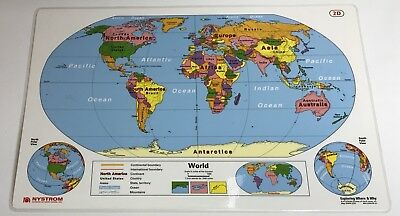 Nystrom Exploring Where & Why USA And World Laminated Placemat Map Kids