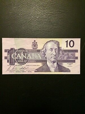 1989 Canadian Old Bank Note 10 Dollar Mint Condition