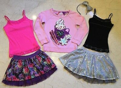 6pc LOT-JUSTICE Girls sz 8-10 cami Top Skorts/Skirts Outfits Sets Winter HOLIDAY