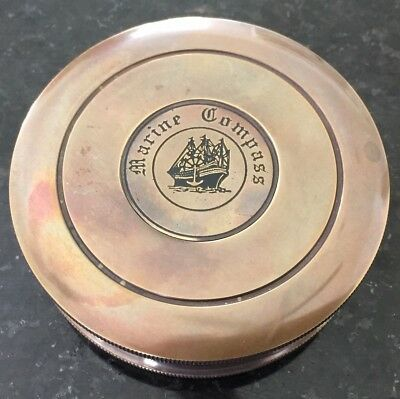 New 3 Inch Large Nautical Brass Marine Poem Compass In Case Works Aus Seller