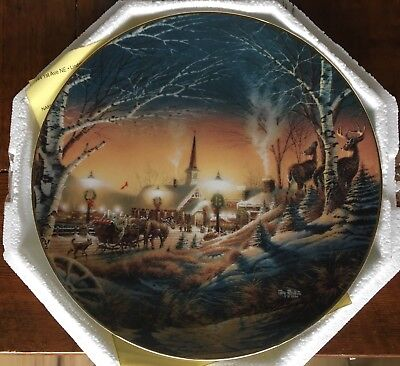 2 Terry Redlin Christmas Plates - NIGHT ON THE TOWN and TRIMMING THE TREE