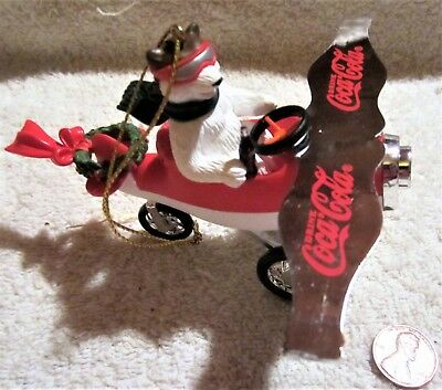 Coca Cola 2002 Platinum Series Bear Pilot in Air Plane Ornament #85
