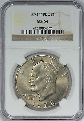 1972 Type 2 Eisenhower Dollar NGC MS64 - Key to the Ike Series