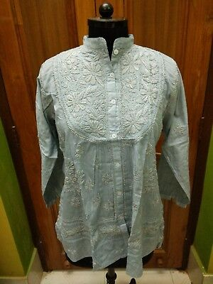 Kurti Handmade Kurta M Xl 100% Malmal Cotton Ethnic Chikan Embroidery Top Tunic