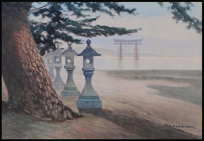 Tokusaburo KOBAYASHI - 1930s Lanterns at Miyajima- Japanese Watercolor Painting