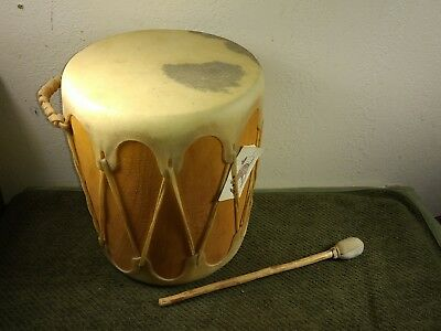 Vintage Native American Indian Taos Wood Rawhide Drum and Beater GREAT CONDITION