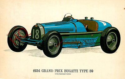 Picture Postcard::VINTAGE CAR, 1934 GRAND PRIX BUGATTI TYPE 59