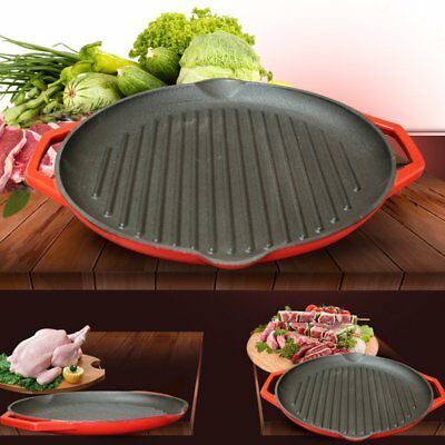 32cm Cast Iron Round Grill Fry Pan Pot Non-stick Coating Induction Kitchen Tools