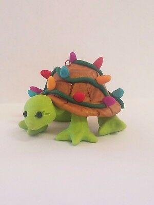 TURTLE CHRISTMAS ORNAMENT TANGLED IN LIGHTS Polymer Clay Hand Made OOAK