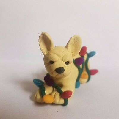 FRENCH BULLDOG CHRISTMAS ORNAMENT tangled in lights FAWN Hand Made OOAK