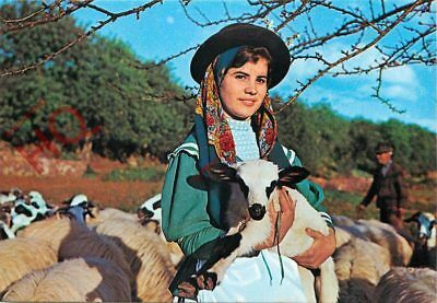 Picture Postcard-:Algarve, Alta, Girl In Traditional Dress, And A Goat?