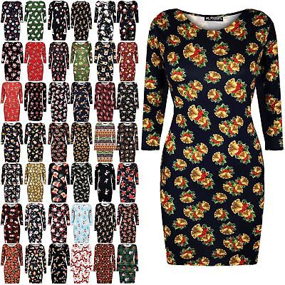 New Womens Ladies Christmas Printed Round Neck Xmas Bandage Bodycon Mini Dress